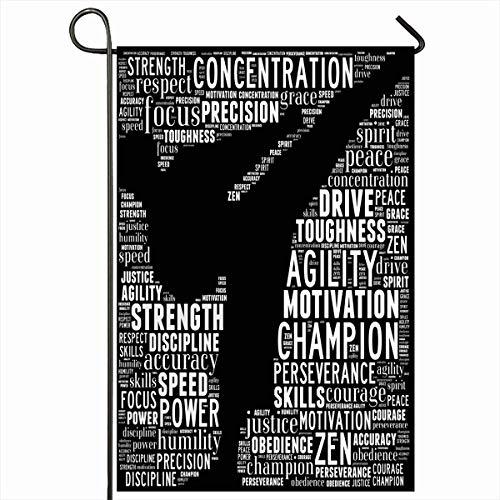 beautiful& Outdoor-Garten Fahnen 12.5 x 18 Zoll Collage Training Essenz Martial Arts Text Grafiken Karate Sport Erholung Kickboxen Führung vertikale doppelseitige Home dekorative Haus Hof Zeichen