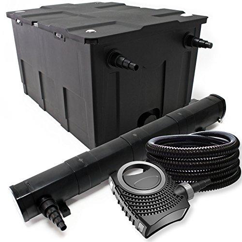 WilTec-Kit de filtrado con Bio-Filtro UV 72W 60000l Esterilizador Bomba de Agua y 25m Jardin
