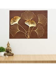 Home Centre Photomontage Textured Floral Accent Wooden Wall Art - Brown