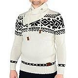 Pullover Ce&Ce 583 Herren Norweger Strickpullover Schalkragen mit Reißverschluss und Kordelzug Größe: M Farbe: white