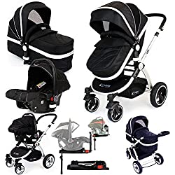iSafe System + iSOFIX Base - Black Trio Travel System Pram & Luxury Stroller 3 in 1 Complete with Car Seat + Footmuff + Carseat Footmuff + RainCovers