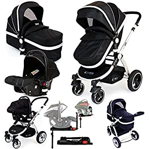 i-Safe System + iSOFIX Base - Black Trio Travel System Pram & Luxury Stroller 3 in 1 Complete With Car Seat + Footmuff + Carseat Footmuff + RainCovers …