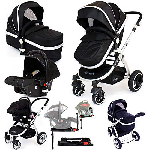 i-Safe System + iSOFIX Base – Black Trio Travel System Pram & Luxury Stroller 3 in 1 Complete With Car Seat + Footmuff + Carseat Footmuff + RainCovers …