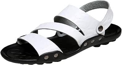 Uomini in Pelle Sandali da Spiaggia Leggero Morbido Fondo Peep Toe Antiscivolo Dual Use Scarpe Casual Uomo Estate Usura Resistente Sandalo Acqua Calzature per Piscina