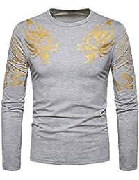 BUSIM Men's Long Sleeve Shirt Fashion Slim Casual Gold Print T-Shirt Round Collar Thin Shirt Shirt Sports Top...