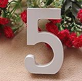 Da.Wa 1PC 0-9 Madera Madera Números Nupcial Partido de los Ornamentos Hogar de la Boda Gecoración de la Tabla(Numero 5)