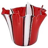 FAZZOLETTO - Jarrón de Cristal de Murano con Centro de Mesa, Fabricado en Italia, Rojo, Medium
