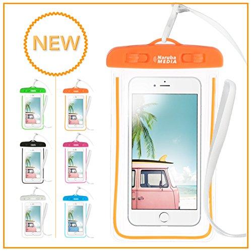 Naruba Media Waterproof | wasserdichte Handyhülle für alle Smartphones bis zu 6 Zoll |19,5 x 11,5 x 1,2 cm| inklusive Gurt und Schnellverschluss (Neonorange)
