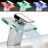 Aquamarin - Robinet LED Mitigeur Cascade pour Vasque Lavabo Salle de Bain en Laiton et Verre