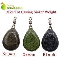 Shaddock pesca® 3pcs varios colores Bell/Bass Casting Sinker Peso con giratorio para la pesca de carpas, 3PCS-Mixed Color