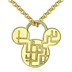 Collar para niños diseño Laberinto Fractal chapado en Oro