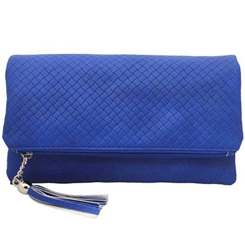 BMC da donna in pelle PU camera scomparto cerniera colore Fashion frizione borsa Blu (Zaffiro blu)