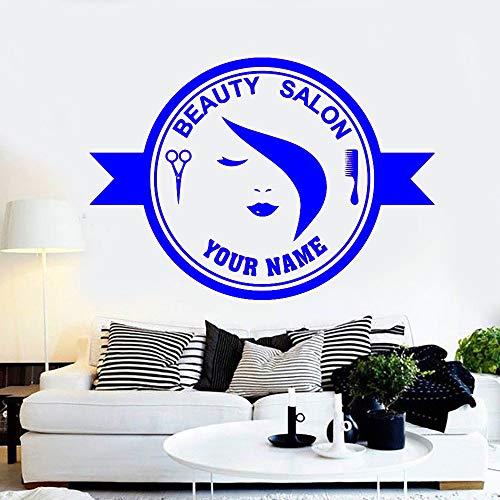 yaoxingfu Beauty Hair Hair Hair Studio Etichetta per Barbiere Adesivi murali Mark Rimovibile Vinile Salon Art Decals Adesivi murali in Vetro WW-3 104x74cm