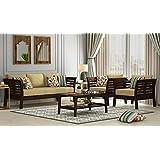 Indigo interiors 3+1+1 Solid Extra Spacious Sheesham Wood Sofa Set for Living Room Furniture (Brown, Walnut Finish Yellow)
