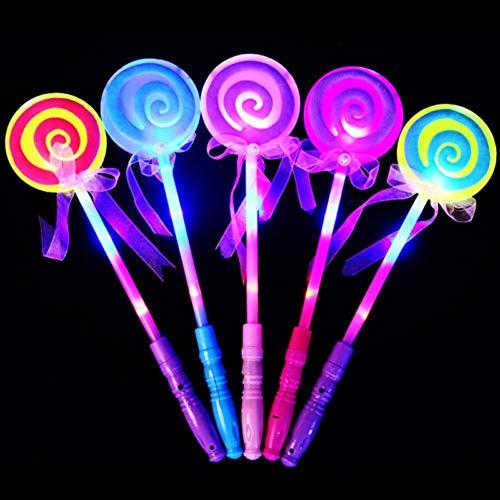 Vektenxi Premium Qualität LED leuchten blinkende Fee Zauberstab Prinzessin Lutscher Stick Mädchen Zufall (Prinzessin Leuchten Zauberstab)