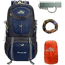 40L/50L/60L Beigsteigen Backpack Outdoor Leicht Fahrrad Rucksack Klettern Wanderrucksack Reise Sport Tagesrucksack Camping Trekkingrucksack mit Regenschutzhülle Wasserdicht (Dunkelblau, 60L)
