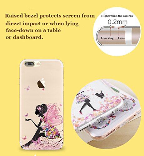 iPhone 7 Plus Case (5.5), iPhone 7 Plus Custodia, Bonice TPU trasparente Ultra Slim Thin 3D Case + Stilo Penna - butterfly Girl model 4