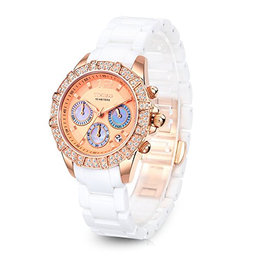 Time100 Damenuhr Elegant Keramik Uhr Choronophuhr Armbanduhr mit Strass Weiß+Rosegold W50056L.02A