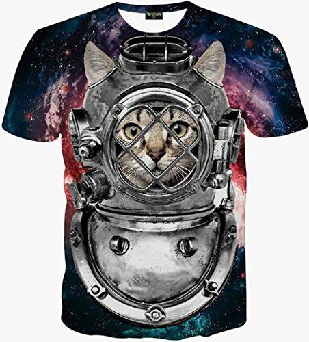 Pizoff Unisex Print Schmale Passform T Shirts mit Karikatur Katze 3D Druckmuster Y1625-97