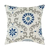 CaliTime Kissenbezug Kissen Shell Floral Geometrische 45cm X 45cm Blau Grau