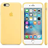 Funda Silicona para iPhone 6 y 6s Silicone Case, Textura Suave, Forro Microfibra (Amarillo)