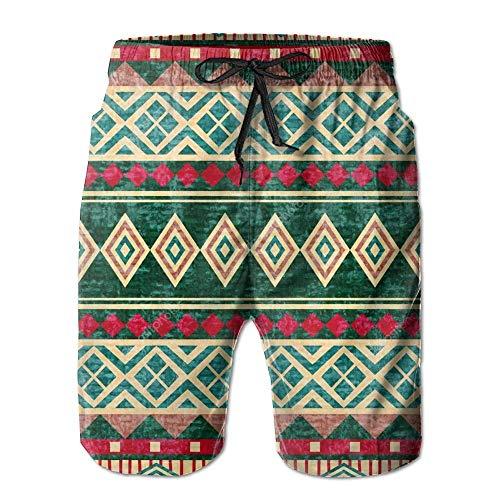 Jocper African Ethnic Pattern Quick Dry Swim Trunk Men Polo Boardshort Sun Bathing Board Shorts Large -