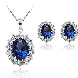 DDLBiZ  Damen/Prinzessinnen Ring Halsketten und Ohrringe-Set mit Blauem Saphir-Anhänger