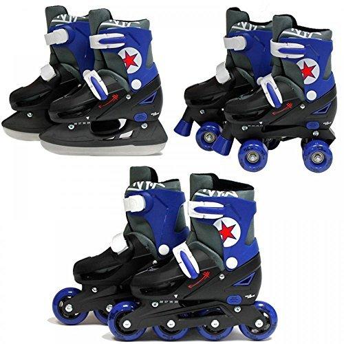 SK8 Zone Jungen Blau 3in1 Roller Klingen Inline Rollschuhe Verstellbare Größe Kinder Pro Kombo Multi Eislaufen Stiefel Neu