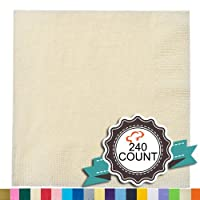 Tiger Chef 240-Pack Ivory, 9 7/8 inch 2-Ply Colored Paper Beverage Napkins - Wedding, Decorative, Party Napkins (240, Ivory)