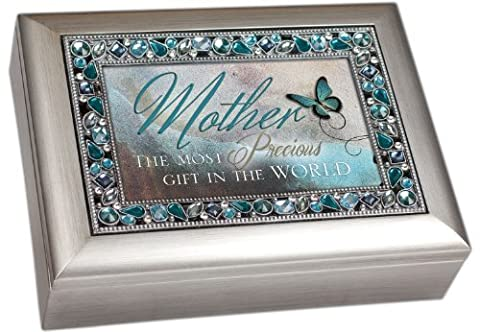 Mother the Most Precious Gift in the World Brushed Silver Finish Decorative Jewel Lid Musical Music Jewelry Box - Plays Wind Beneath My Wings by Cottage Garden