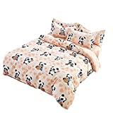 KFZ Parure de housse de couette sans Doudou Drap Taie d'oreiller SM Twin Full Queen King Amour Nuit Panda Zoo Amour Fleur doux Impression de fraise pour enfants adolescents 4 pcs/lot, Microfibre, Panda Zoo, Pink, King 86'x94'