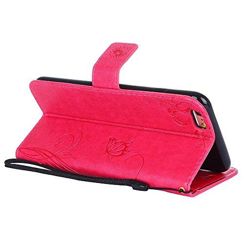 "MOONCASE iPhone 6 Plus/iPhone 6s Plus Coque, [Embossed Pattern] PU Cuir Flip Portefeuille Housse pour iPhone 6 Plus/6s Plus 5.5"" Durable Armure Anti-choc Protection Etui Case Bleu Hotpink"