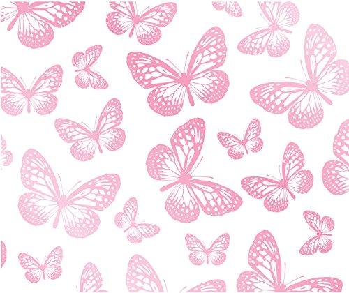 Fun4Walls Papier peint Motif papillon Blanc/rose