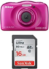 Nikon Coolpix W100 Kamera pink + SanDisk Ultra 16GB Speicherkarte