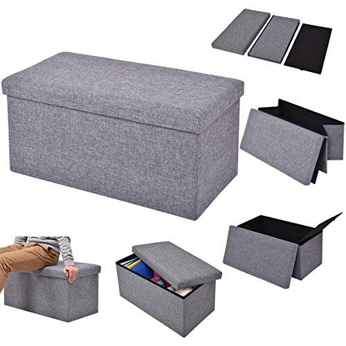 COSTWAY Sitzhocker mit Stauraum Sitzwürfel Sitzbox Sitzbank Aufbewahrungsbox Ottomane faltbar Farbwahl 76x38x38cm (grau)