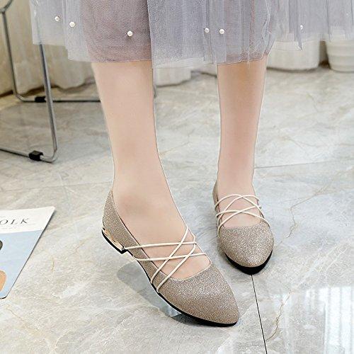 Lgk & fa estate sandali con tacco piatto fondo piatto scarpe da donna testa rotonda Golden