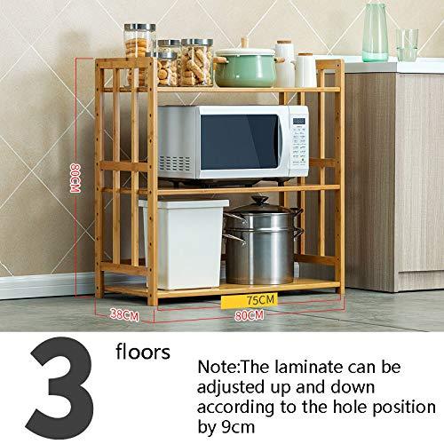 Kitchen furniture - Étagère en bambou au sol multi-couche four à micro-ondes support de stockage réglable support mildiou preuve trois étages WXP (taille : 80 * 38 * 80cm)