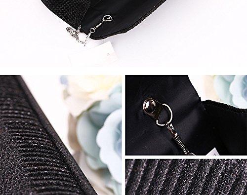 2017 neue Glitter Damen Tasche Mädchen Handtasche Party Hochzeit Abendtasche Kettentasche Umhängetasche mit Falten Silber