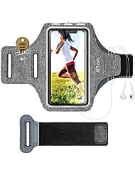 JETech Brassard de Téléphone Compatible avec iPhone XR/XS/X/8 Plus/7 Plus/8/7/6s/6, Galaxy S10/S9/S9+/S8/S8+, Bande Ajustable et d'une Fente pour Carte, pour la Course, la Marche et la Randonnée
