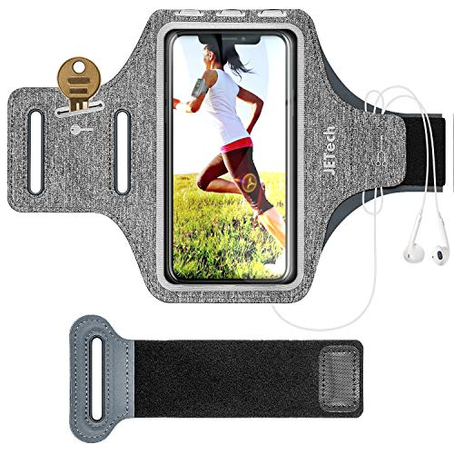 JETech Cellulare Fascia da Braccio Custodia Compatibile with iPhone 11/11 Pro/XR/XS/X/8 Plus/7 Plus/8/7/6s/6, Galaxy S10/S9,Cinghia Regolabile e Slot per Carte, per Correre, Camminare, Escursionismo