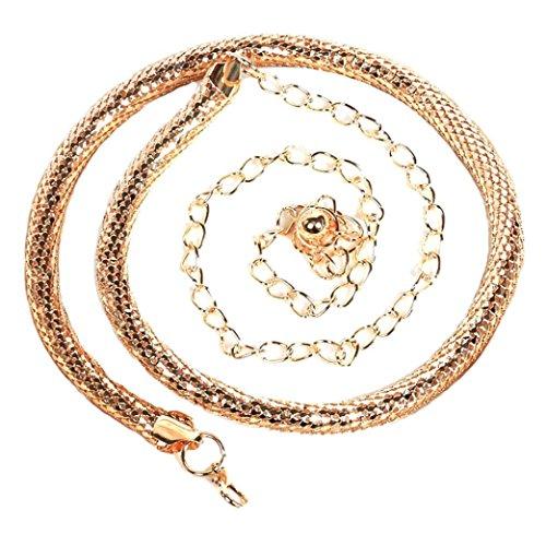 Malloom Las mujeres de moda de la señora serpiente cadena cadena de metal estilo cinturón cuerpo huesos