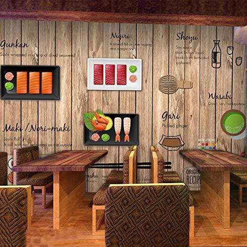 Mmneb Individuelle Fototapete 3D-Cartoon Handbemalte Japanische Restaurant Wandbild Tapete Nudelsushi Shop Holz Tapete A-450X300Cm -