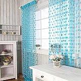 Pindia Beautiful Heart String Thread Modern 2 Piece Polyester Window Curtain Set - 6ft (Aqua)