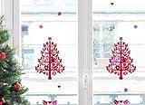 Xmas Fenstersticker Roter Weihnachtsbaum mit Vogel