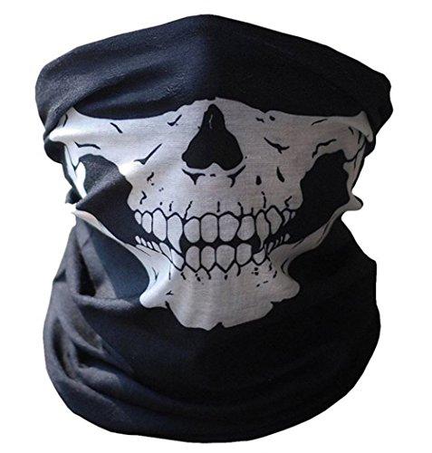 (Cdet Schädel Schal Schlauch Maske Sturmmaske Schlauchtuch Halstuch mit Totenkopf Polyester 25 x 50 cm Schwarz Skeleton Muster)