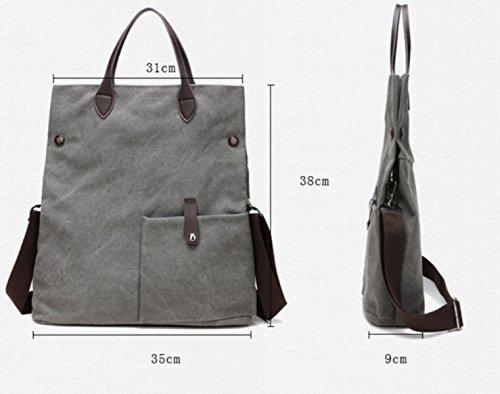 FZHLY Spalla Delle Signore Della Tela Di Canapa Multifunzionale Messenger Grande Capacità Retrà Trendy Handbags,Brown Gray