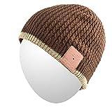Cappello Beanie Qshell adulto unisex Bluetooth Trendy caldo molle Audio Cap musica con Wireless Cuffia microfono dell'altoparlante, regalo di Natale per Outdoor Sport Sci Snowboard Jogging - Marrone