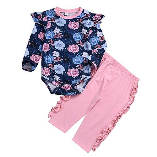 Fenverk 3 Stück Weich Kleinkind Säugling Baby Mädchen Beiläufig Blumen Drucken Kleider Set Lange Ärmel Tops + Hose + Hut Outfits 6-24 Monat (Rosa,70)