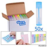 Tubos para envasar bálsamo labial - Paquete de 50 Tubos (10x5 colores) - Hágalo usted mismo - 3/16 Oz (5,5 ml) - Incluye 50 Adhesivos Escribibles (10x5 colores) y 50 Adhesivos de Bálsamo Labial Impresos