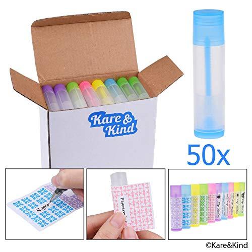 Lippenbalsam Behältertuben - 50-Pack (10x5 Farben) - DIY - 5,5ml - 50 beschreibbare (10x5 Farben) & 50 bedruckte Aufkleber - Drehmechanismus und eine Kappe - Leer - Machen Sie Lippenbalsam